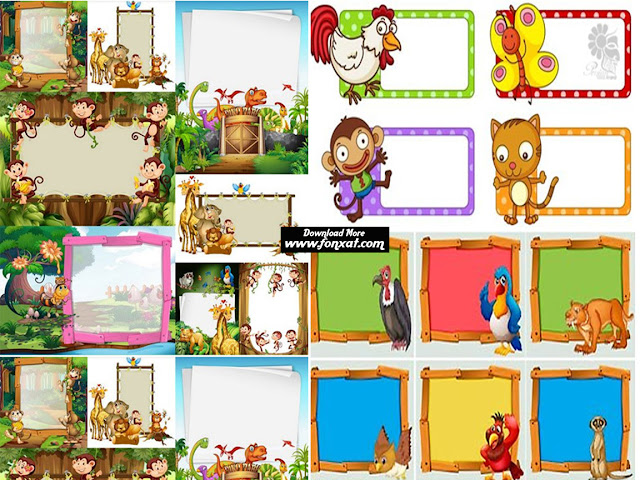 Download set of vector images ready template frame with animals - Frame Design With Wild Animals