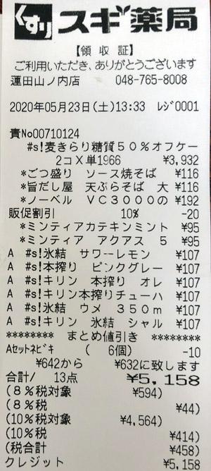 スギ薬局 蓮田山ノ内店 2020/5/23 のレシート