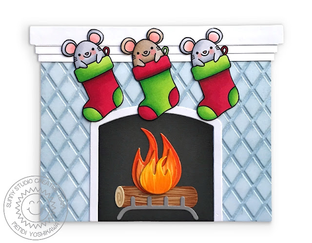 Sunny Studio: Merry Mice Christmas Mouse Hanging in Stockings from Fireplace Shaped Holiday Card (using Fireplace Die & Dapper Diamonds 6x6 Embossing Folder)