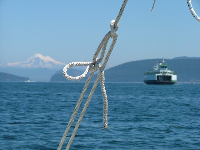 Ferry and Mt Baker in the San Juans
