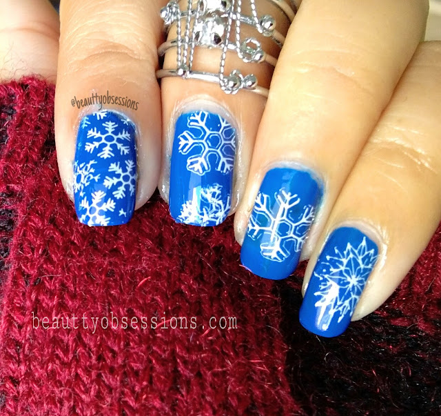 Christmas NailArt design using Beautybigbang Stamping Plate and Scraper