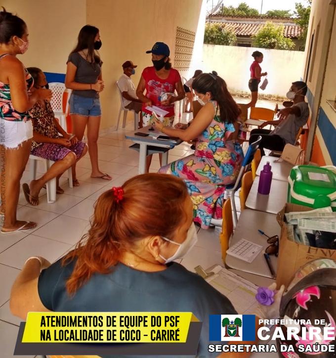 Localidade de Coco recebe atendimentos de equipe do PSF