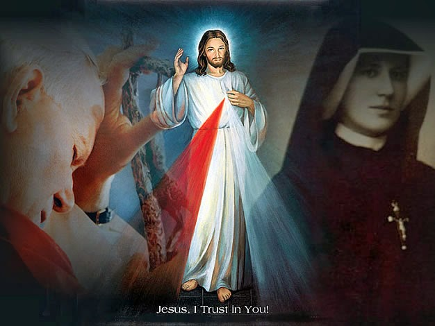 Image of Divine Mercy with St. Pope John Paul II and Sr. Faustina Kowalska