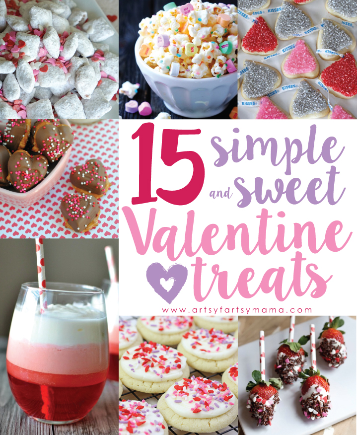 15 Simple and Sweet Valentine Treats at artsyfartsymama.com #ValentinesDay