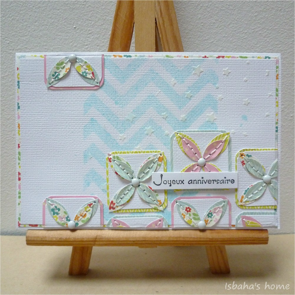 "a card with mixed media products in a ""clean"" way"