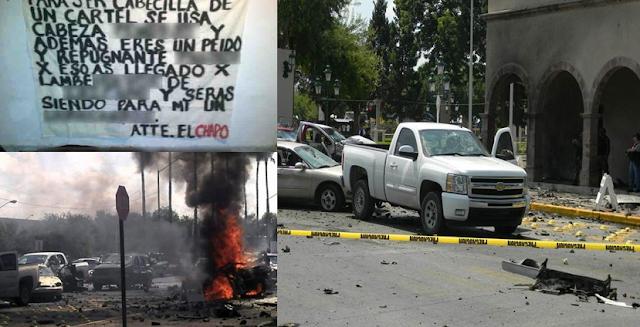 El día que El Chapo Guzman tomo N, Laredo Tamaulipas restos humanos fueron abandonados en varias partes un coche bomba y Narcomantas con su apodo