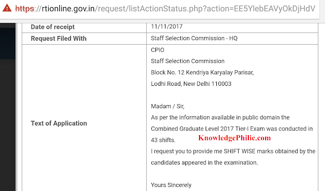 RTI Query Reply Regarding Shift Wise Marks in SSC CGL 2017 Tier-1