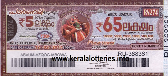 Live Kerala lottery result of Pournami RN-281 on 02 April 2017