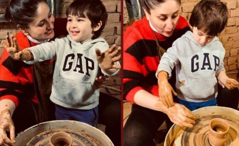 अम्मी-अब्बू के साथ मिलकर छोटे नवाब तैमूर ने बनाएं मिट्टी के बर्तन