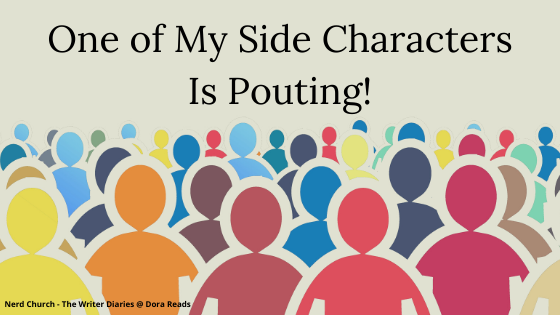'One of My Side Characters Is Pouting!' above a bunch of outlined people shapes in different colours - they're arranged so that it looks like they're in a crowd