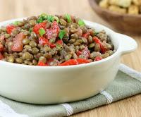 Salada de Lentilhas com Tomate e Pimentão (vegana)