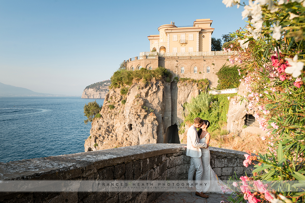 Bride and groom in Sorrento Italy