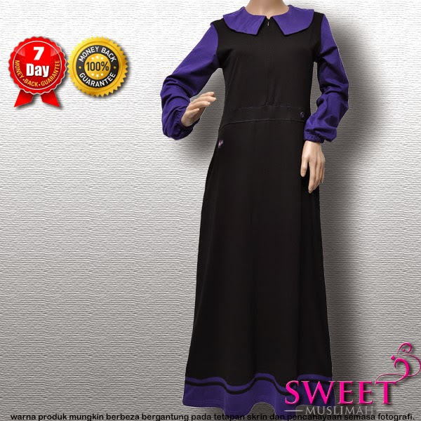 JUBAH COTTON MT86 Hitam Ungu (KOLEKSI MUTIF)- SOLD OUT