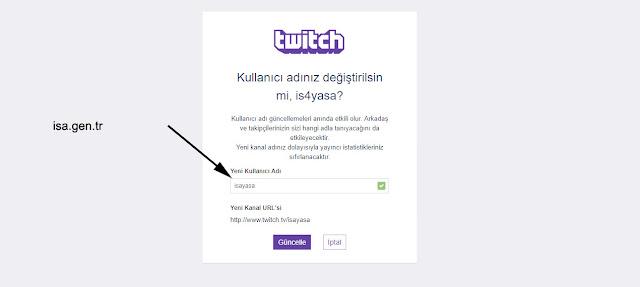 twitch üyelik ismi nasıl değiştirilir