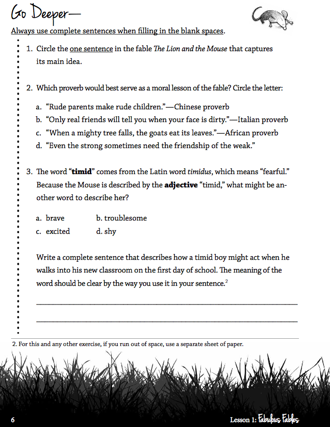 Examples List on new topic preface to fables summary