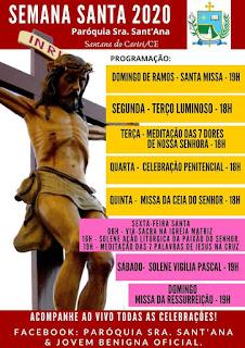 PAROQUIA DE SENHORA SANT'ANA DIVULGA SUA PROGRAMAÇÃO PARA SEMANA SANTA