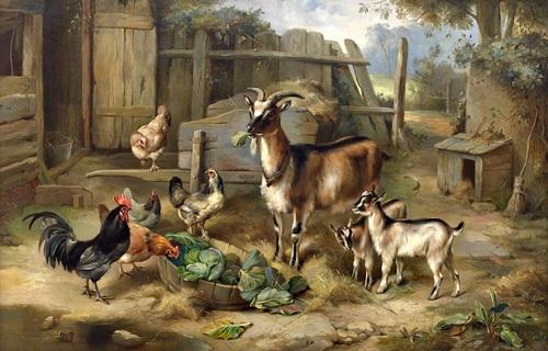keçi gıkık ve tavuklar yağlı boya tablosu