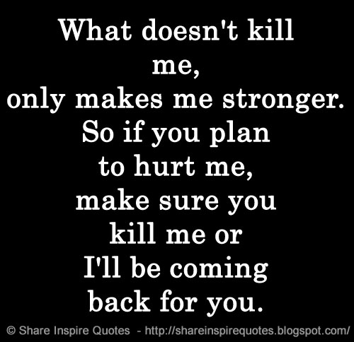 What Doesnt Kill Me Only Makes Me Stronger So If You Plan To Hurt
