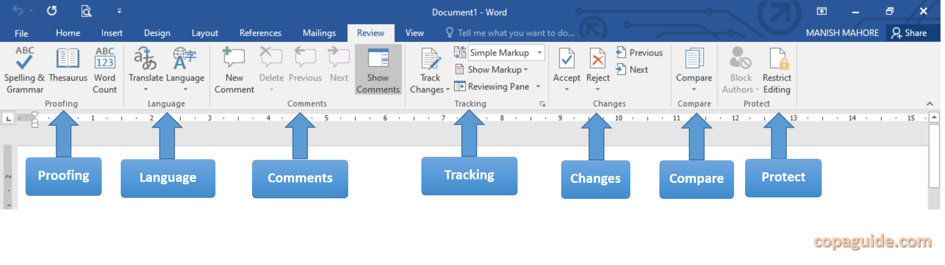 MS Word Review Tab Commands