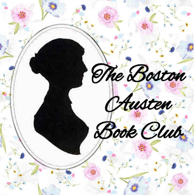Jane Austen silhouette with white floral background and scrip that reads The Boston Austen Book Club