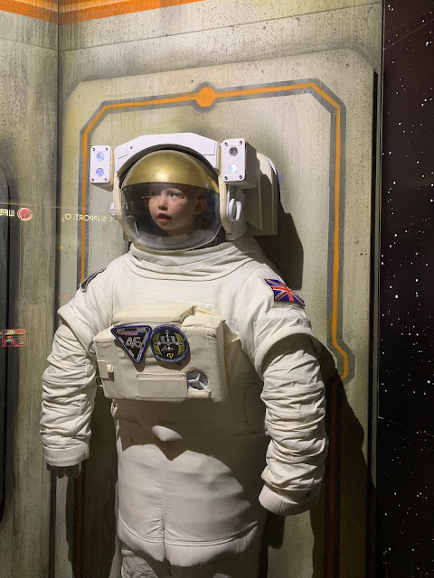 A 3 year old in a space suit at Winchester Science Centre