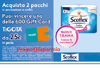 Logo Vinci GiftCard ''Scottex ti regala le Gift card Tigotà'': 600 premi da 25€