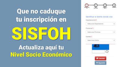 SISFOH Actualiza aquí la Clasificación Socioeconómica de tu hogar para obtener los bonos