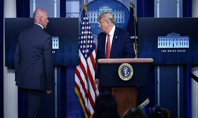 Trump evacuated from White House Briefing Room, cause unknown