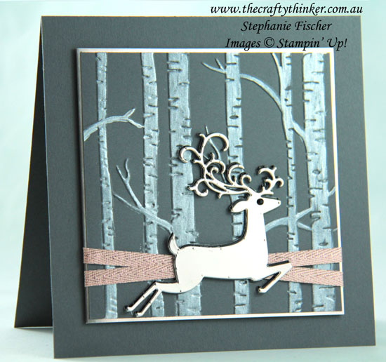 #thecraftythinker  #christmascard  #detaileddeer  #woodland #cardmaking  #stampinup , Christmas Card, Detailed Deer, Woodland Embossing Folder, Shimmer Paint, Stampin' Up Australia Demonstrator, Stephanie Fischer, Sydney NSW