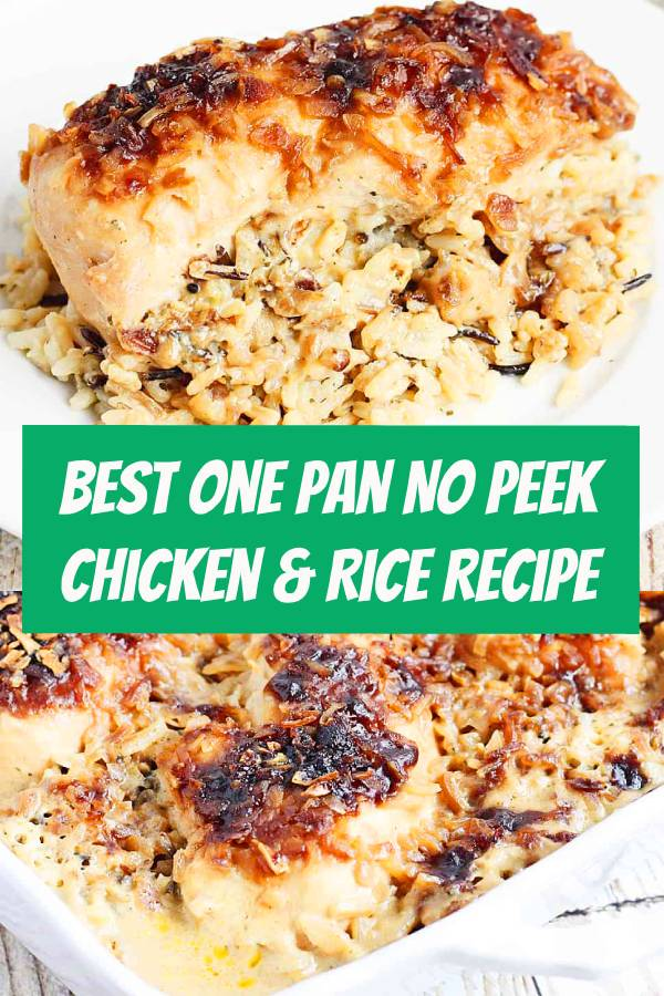 One pan no peek chicken and rice is sure to become a favorite family meal! Wild rice, soup, and chicken are combined in a single baking dish then baked to creamy chicken and rice perfection! #chicken #chickenrecipe #maindish #rice #chickenandrice #easyrecipe #onedish #onedishrecipe