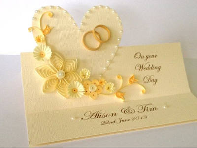 sandal color quilling wedding congratulation card designs - quillingpaperdesigns
