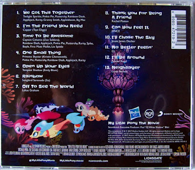 Back cover of the MLP Movie soundtrack CD