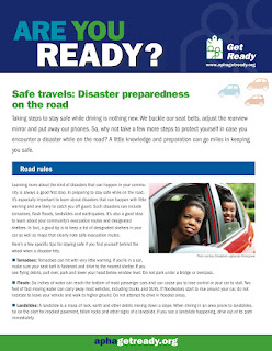 "Image of the first page of the Get Ready fact sheet ""Safe travels: Disaster preparedness on the road."""