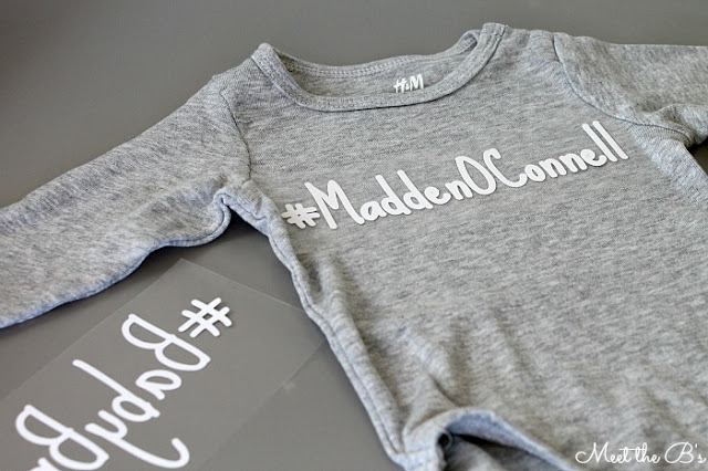 DIY Silhouette project! Make cute #hashtag onesies using heat-transfer vinyl.