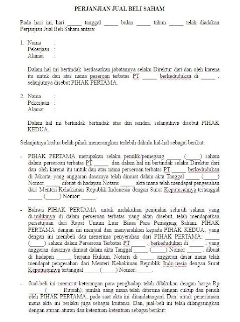 Contoh Surat Perjanjian Jual Beli Saham yang Resmi Format Word