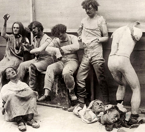 Melted and damaged mannequins after a fire at Madam Tussaud's Wax Museum in London, 1930