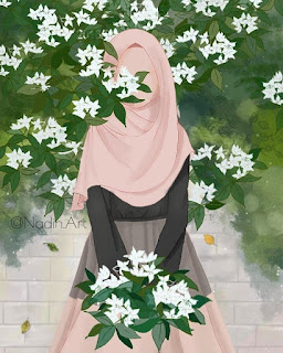 art animasi hijab and flowers