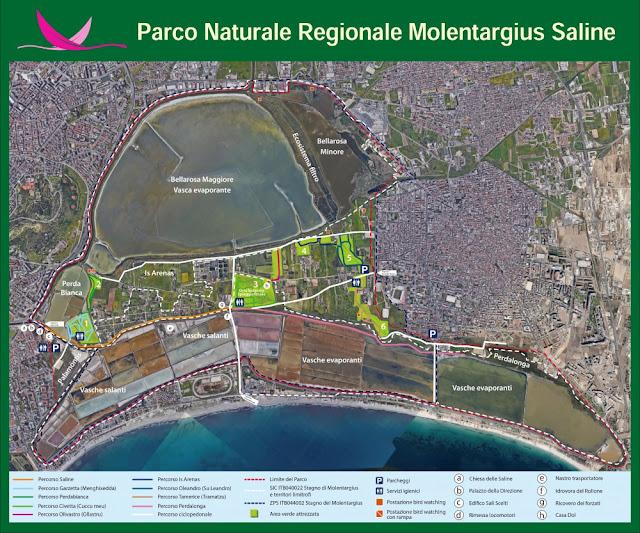 Mappa del parco naturale Molentargius-Saline di Cagliari