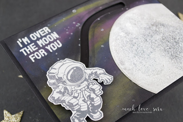 This interactive card features the Brand new In Motion Dies, as well as the I Believe Stamp Set from Fun Stampers Journey.   With the fun galaxy background, and shiny and sparkly moon, this card is very fun!
