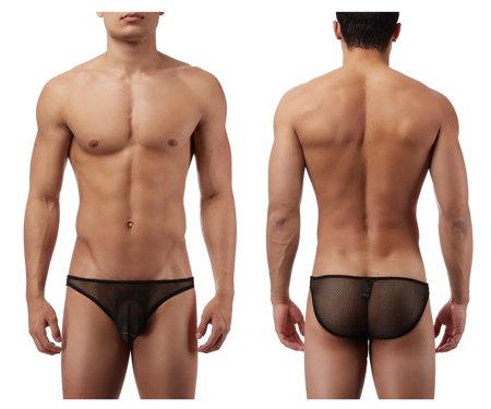 ネット素材の為地肌が透けて見える男性下着のシースルービキニです。