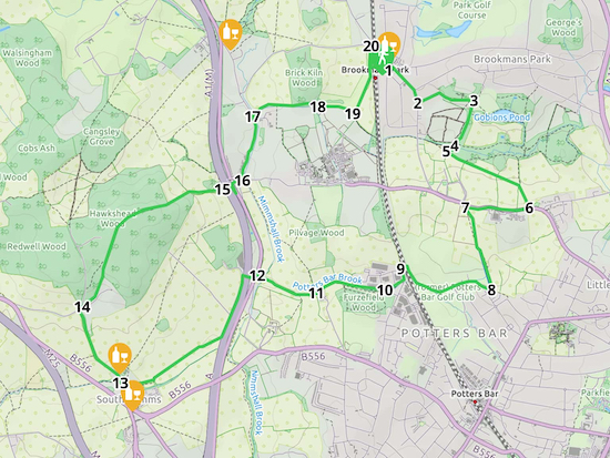 Map for Walk 32: Brookmans Park SW Loop Created on Map Hub by Hertfordshire Walker Elements © Thunderforest © OpenStreetMap contributors There is an interactive map embedded at the end of these directions