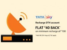 TataSky Offer – Get Rs.40 Cashback on Rs.100 Recharge