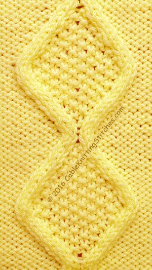 Cable Knitting Stitches » Cable panel 16 » Moss Stitch Diamonds | 22-stitch Panel