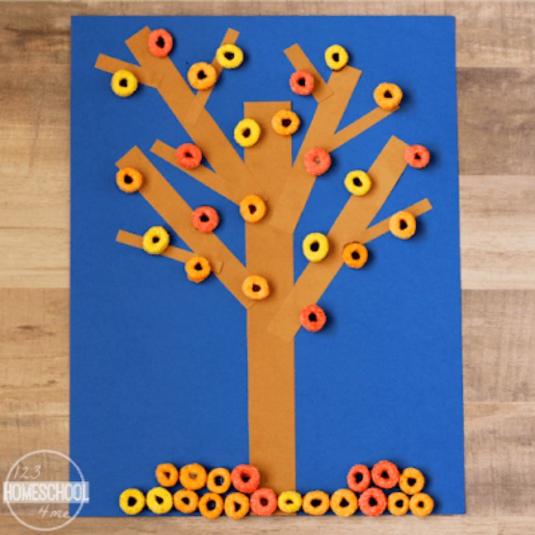 cereal fall tree autumn craft for kids
