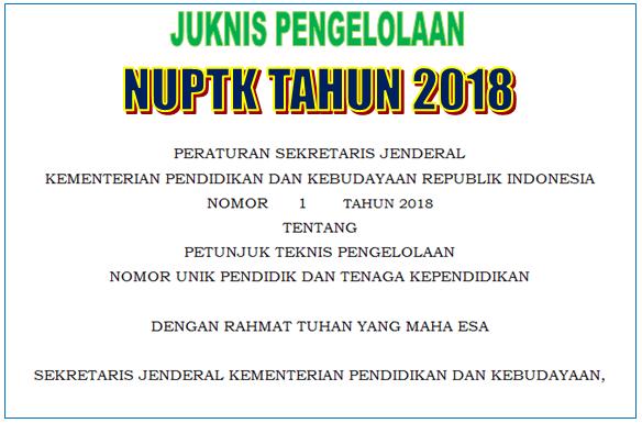 Juknis Pengelolaan NUPTK Tahun 2018