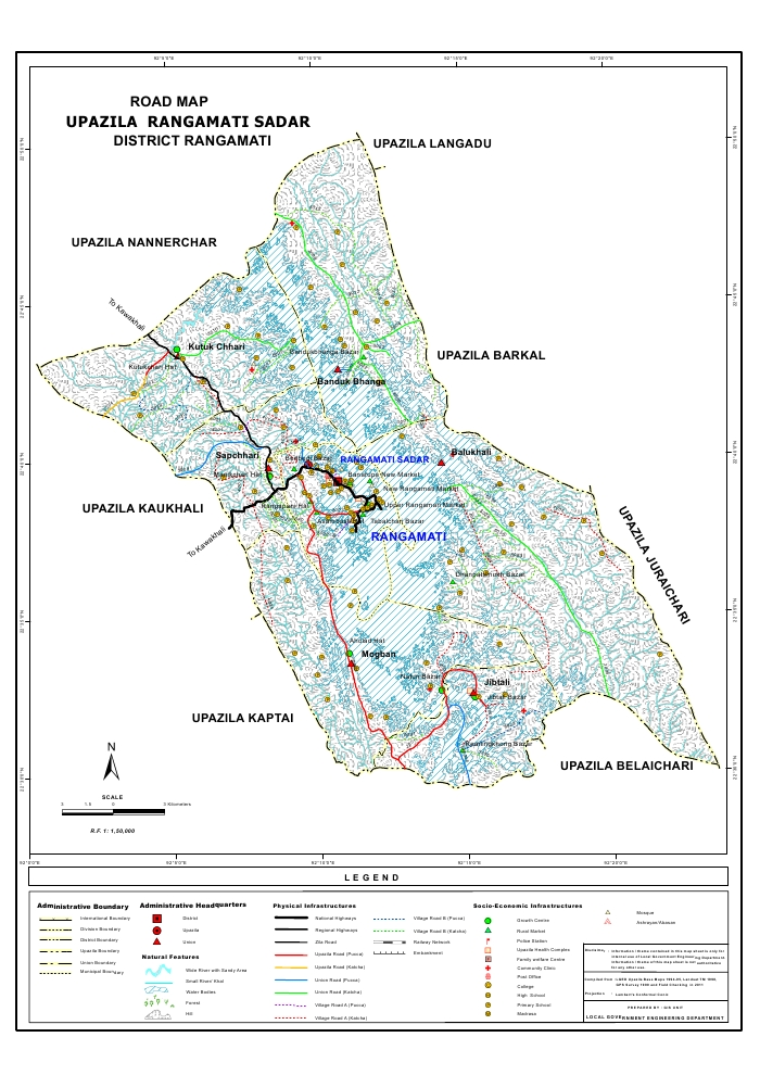 Rangamati Sadar Upazila Road Map Rangamati District Bangladesh