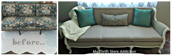 Friday's Find  Vintage Favorites  $10 yard sale sofa makeover mythriftstoreaddiction.blogspot.com