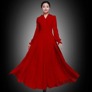 Dress Panjang Cantik Merah Wanita