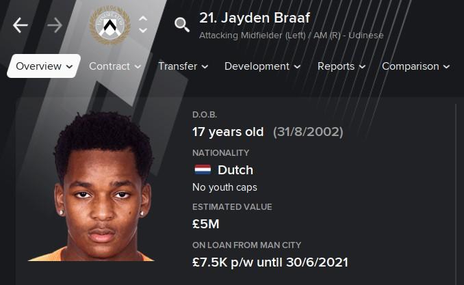 Jayden Braaf FM21 Football Manager 2021 Wonderkid