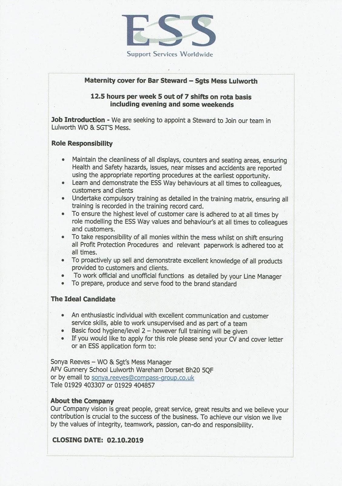 BOVINGTON HIVE: Job Vacancy Lulworth Camp (12.5 hrs per week)